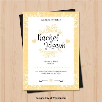 Ładne płaskie zaproszenie na ślub z ozdoby