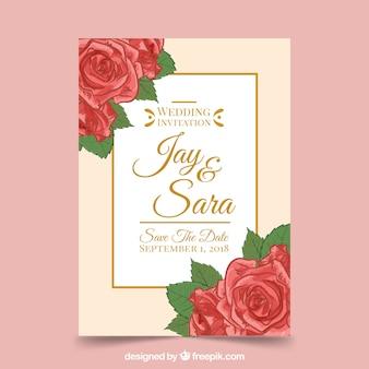Ładne płaskie zaproszenie na ślub z róż