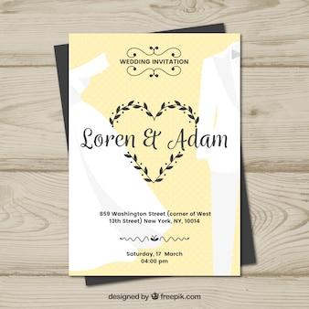 Ładne płaskie zaproszenie na ślub