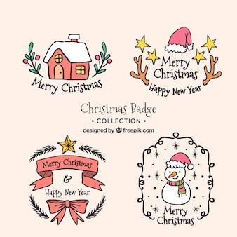 Ładne ręcznie rysowane naklejki świąteczne