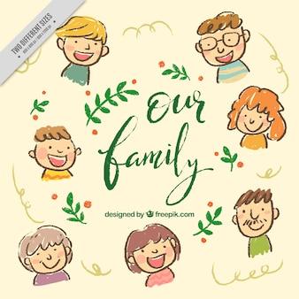 Ładne ręcznie rysowane tła rodziny