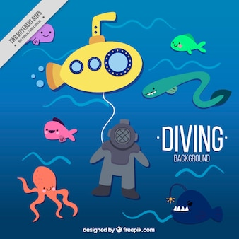 Ładne tło nurkowanie z żółtej łodzi podwodnej