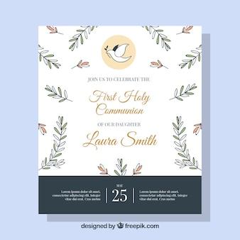 Ładne zaproszenie komunii