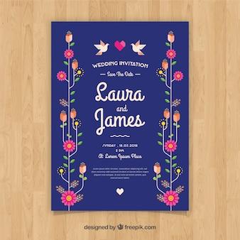 Ładne zaproszenie na ślub w płaska konstrukcja z kwiatami