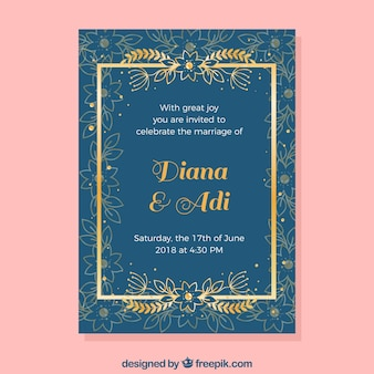 Ładne zaproszenie na ślub w płaski kształt