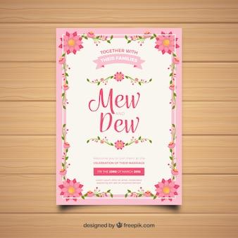 Ładne zaproszenie na ślub w płaskiej konstrukcji z różową ramką