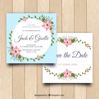 Ładne zaproszenie na ślub z kwiatami