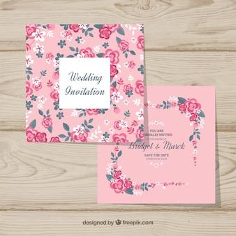 Ładne zaproszenie na ślub z kwiatowym wzorem