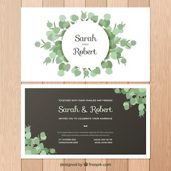 Ładne zaproszenie na ślub z liści