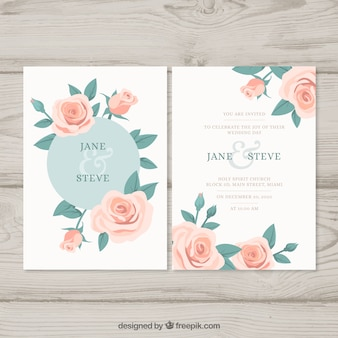 Ładne zaproszenie na ślub z róż