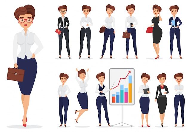 Ładnego kreskówki bizneswomanu damy charakteru różne pozy projektują set.