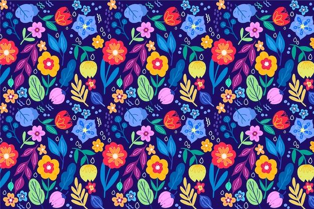 Ładni kwiaty z bezszwowym deseniowym tłem