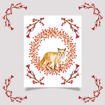 Ładny akwarela kartki świąteczne zwierząt