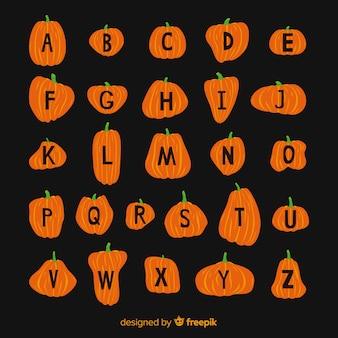 Ładny alfabet dyni halloween