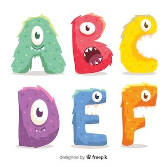 Ładny alfabet potworów halloween