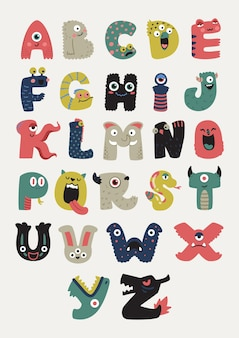 Ładny alfabet potworów