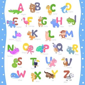 Ładny alfabet zwierząt ilustracja az.