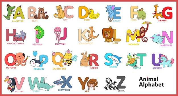 Ładny alfabet zwierzęcy ilustracja