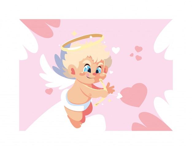 Ładny amorek anioł, walentynki