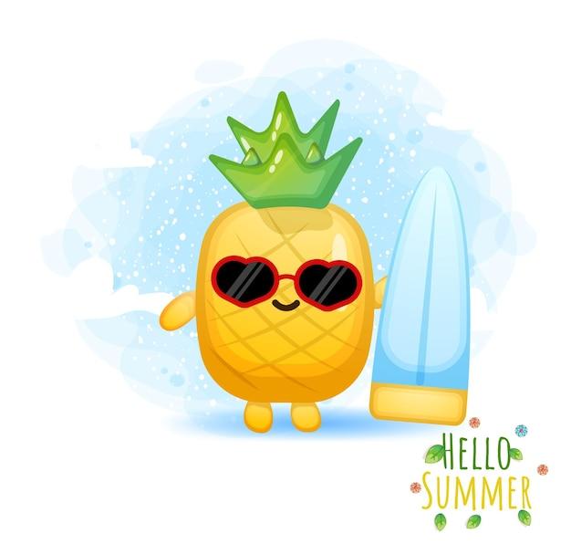 Ładny ananas grający postać z kreskówki surfowania. witam letnią kartkę z życzeniami