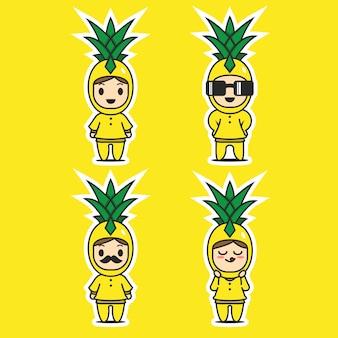Ładny ananasowy charakter maskotki