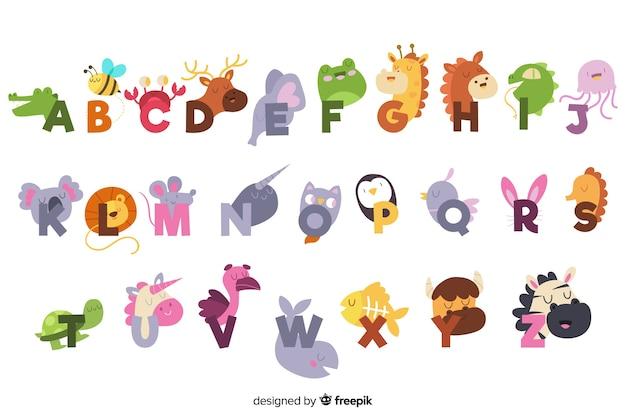 Ładny angielski alfabet ze zwierzętami