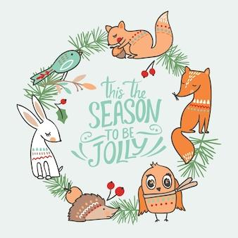 Ładny animalistyczny wzór. . z lisem, królikiem, jeżem, wiewiórką, sową i ptaszkiem w lesie.