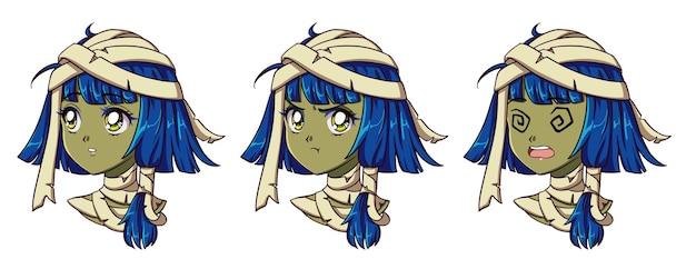 Ładny anime mumia portret dziewczyny. dwa różne wyrażenia.