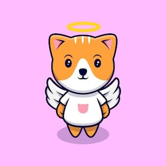Ładny anioł kot kreskówka ikona ilustracja. płaski styl kreskówki