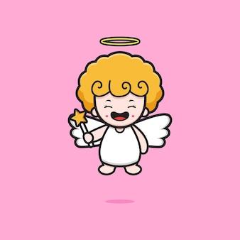 Ładny anioł trzyma bajki kij ikona ilustracja kreskówka. zaprojektuj na białym tle płaski styl kreskówki