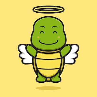 Ładny anioł żółw maskotka z szczęśliwą twarz kreskówka wektor ikona ilustracja. projekt na żółto. płaski styl kreskówek.