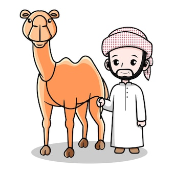 Ładny arabski projekt faceta z wielbłądem