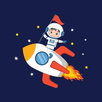 Ładny astronauta chłopiec jazda rakieta kosmiczna płaski wektor kreskówka projekt