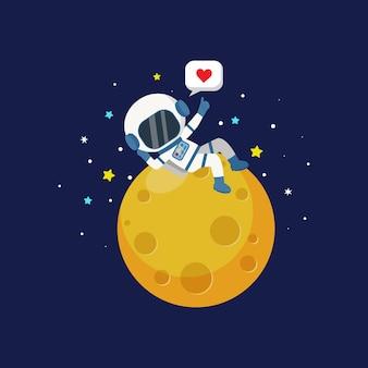 Ładny astronauta chłopiec relaks na księżycu płaski wektor kreskówka projekt