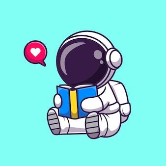 Ładny astronauta czytanie książki kreskówka wektor ikona ilustracja. nauka edukacja ikona koncepcja białym tle premium wektor. płaski styl kreskówki