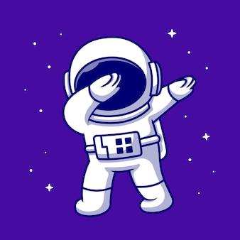 Ładny astronauta dabbing ikona ilustracja kreskówka. ikona nauki kosmicznej na białym tle. płaski styl kreskówki