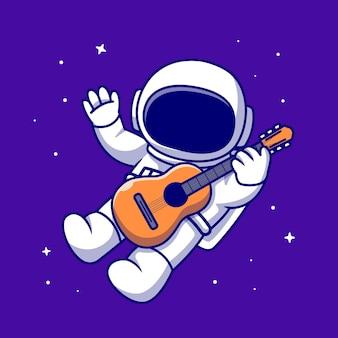 Ładny astronauta gra na gitarze w kosmosie ikona ilustracja kreskówka. nauka muzyki ikona na białym tle. płaski styl kreskówki