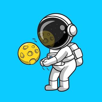 Ładny astronauta gra w siatkówkę księżyc kreskówka wektor ikona ilustracja. sport nauka ikona koncepcja białym tle premium wektor. płaski styl kreskówki