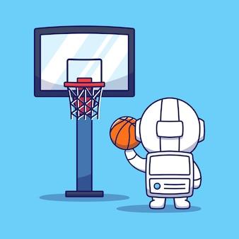 Ładny astronauta grający w koszykówkę