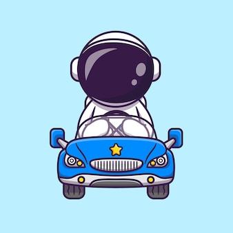 Ładny astronauta jazdy samochodem kreskówka wektor ikona ilustracja. nauka transport ikona koncepcja białym tle premium wektor. płaski styl kreskówki