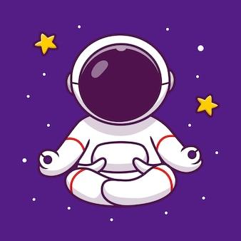 Ładny astronauta joga w kosmosie ikona ilustracja kreskówka. ludzie nauka przestrzeni ikona koncepcja na białym tle premium. płaski styl kreskówki