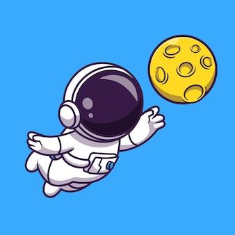 Ładny astronauta łapiący księżyc kreskówka wektor ikona ilustracja