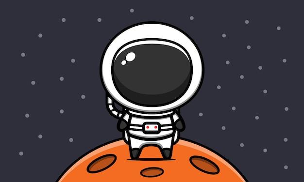 Ładny astronauta na księżycu ikona ilustracja kreskówka