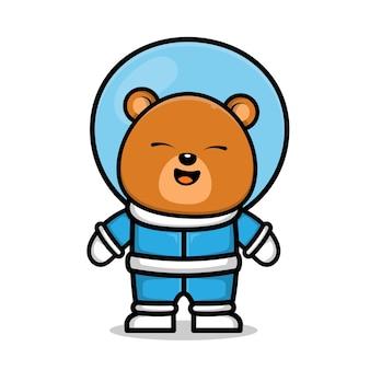 Ładny astronauta niedźwiedź kreskówka ilustracja koncepcja przestrzeni zwierzęcej