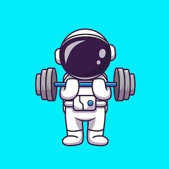 Ładny astronauta podnoszenia hantle ikona ilustracja kreskówka. nauka sport ikona koncepcja na białym tle. płaski styl kreskówki