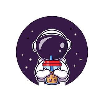Ładny astronauta popijając herbatę mleczną boba kreskówka wektor ikona ilustracja. nauka ikona żywności i napojów