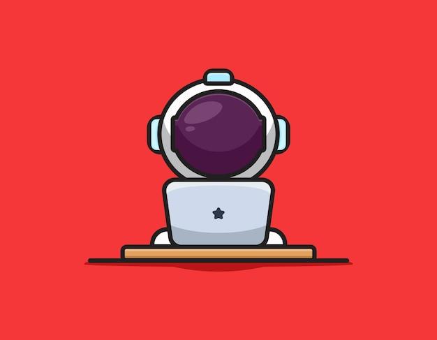 Ładny astronauta postać gra ikona ilustracja kreskówka laptopa. koncepcja ikona technologii nauki na białym tle. płaski styl kreskówki