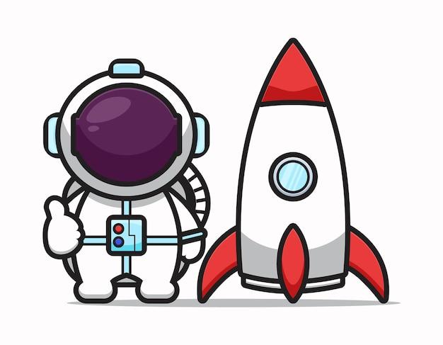 Ładny astronauta postać z dobrą pozą i rakietą ikona ilustracja kreskówka. koncepcja ikona technologii nauki na białym tle. płaski styl kreskówki