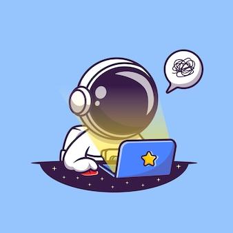 Ładny astronauta pracuje na ilustracji kreskówka laptopa. koncepcja nauki technologii. płaski styl kreskówki