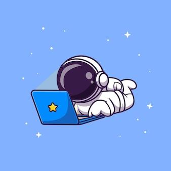 Ładny astronauta pracuje na laptopie kreskówka wektor ikona ilustracja. nauka technologia ikona koncepcja białym tle premium wektor. płaski styl kreskówki